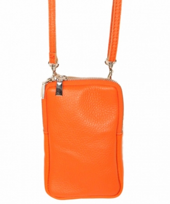 Handytasche aus Leder orange